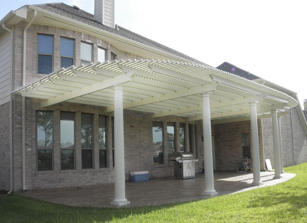 aluminum pergola with decorative concrete. Black Bedroom Furniture Sets. Home Design Ideas